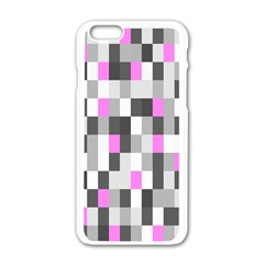 Pink Grey Black Plaid Original Apple Iphone 6/6s White Enamel Case by Mariart