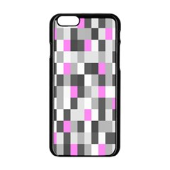 Pink Grey Black Plaid Original Apple Iphone 6/6s Black Enamel Case by Mariart