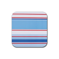 Navy Blue White Red Stripe Blue Finely Striped Line Rubber Square Coaster (4 Pack)  by Mariart