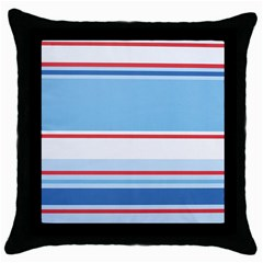 Navy Blue White Red Stripe Blue Finely Striped Line Throw Pillow Case (black) by Mariart
