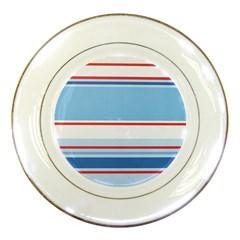 Navy Blue White Red Stripe Blue Finely Striped Line Porcelain Plates by Mariart