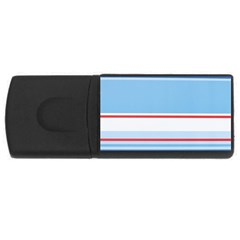 Navy Blue White Red Stripe Blue Finely Striped Line Usb Flash Drive Rectangular (4 Gb) by Mariart