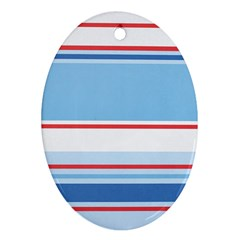 Navy Blue White Red Stripe Blue Finely Striped Line Oval Ornament (two Sides) by Mariart