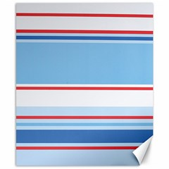 Navy Blue White Red Stripe Blue Finely Striped Line Canvas 8  X 10  by Mariart