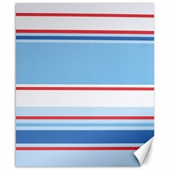 Navy Blue White Red Stripe Blue Finely Striped Line Canvas 20  X 24