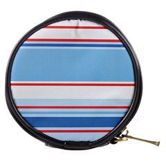 Navy Blue White Red Stripe Blue Finely Striped Line Mini Makeup Bags by Mariart