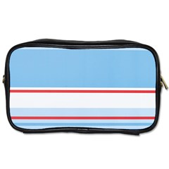 Navy Blue White Red Stripe Blue Finely Striped Line Toiletries Bags 2 Side by Mariart