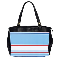 Navy Blue White Red Stripe Blue Finely Striped Line Office Handbags (2 Sides)  by Mariart