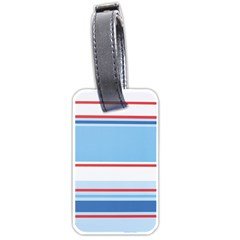 Navy Blue White Red Stripe Blue Finely Striped Line Luggage Tags (two Sides) by Mariart