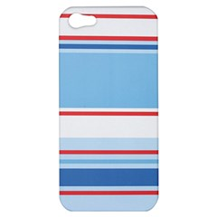 Navy Blue White Red Stripe Blue Finely Striped Line Apple Iphone 5 Hardshell Case by Mariart
