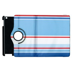 Navy Blue White Red Stripe Blue Finely Striped Line Apple Ipad 2 Flip 360 Case by Mariart