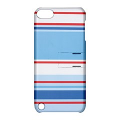 Navy Blue White Red Stripe Blue Finely Striped Line Apple Ipod Touch 5 Hardshell Case With Stand by Mariart