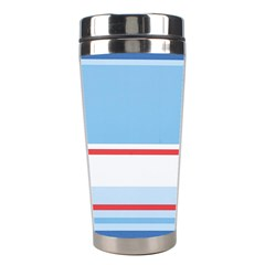 Navy Blue White Red Stripe Blue Finely Striped Line Stainless Steel Travel Tumblers by Mariart