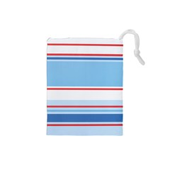Navy Blue White Red Stripe Blue Finely Striped Line Drawstring Pouches (small)  by Mariart