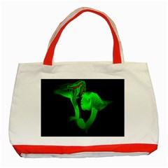 Neon Green Resolution Mushroom Classic Tote Bag (red) by Mariart