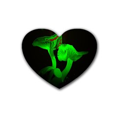 Neon Green Resolution Mushroom Heart Coaster (4 Pack)  by Mariart