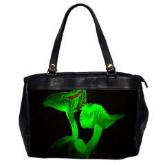 Neon Green Resolution Mushroom Office Handbags (2 Sides)  by Mariart