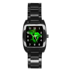 Neon Green Resolution Mushroom Stainless Steel Barrel Watch by Mariart
