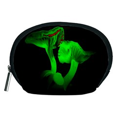 Neon Green Resolution Mushroom Accessory Pouches (medium)  by Mariart