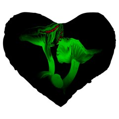 Neon Green Resolution Mushroom Large 19  Premium Flano Heart Shape Cushions by Mariart