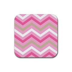 Pink Red White Grey Chevron Wave Rubber Coaster (square)