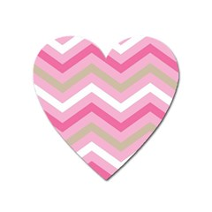 Pink Red White Grey Chevron Wave Heart Magnet by Mariart