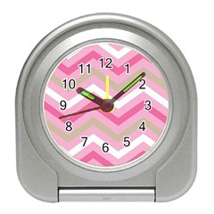 Pink Red White Grey Chevron Wave Travel Alarm Clocks