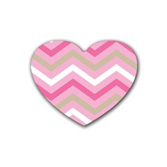 Pink Red White Grey Chevron Wave Rubber Coaster (heart)  by Mariart