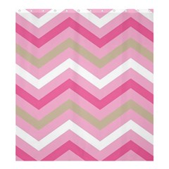 Pink Red White Grey Chevron Wave Shower Curtain 66  X 72  (large)  by Mariart