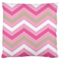 Pink Red White Grey Chevron Wave Large Cushion Case (one Side) by Mariart