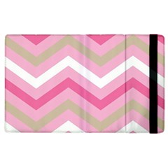 Pink Red White Grey Chevron Wave Apple Ipad 3/4 Flip Case by Mariart