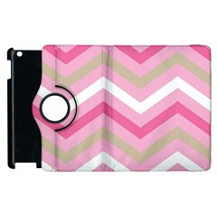 Pink Red White Grey Chevron Wave Apple Ipad 3/4 Flip 360 Case by Mariart