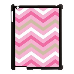 Pink Red White Grey Chevron Wave Apple Ipad 3/4 Case (black) by Mariart