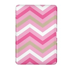 Pink Red White Grey Chevron Wave Samsung Galaxy Tab 2 (10 1 ) P5100 Hardshell Case  by Mariart