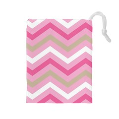 Pink Red White Grey Chevron Wave Drawstring Pouches (large)  by Mariart