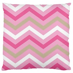 Pink Red White Grey Chevron Wave Standard Flano Cushion Case (one Side) by Mariart
