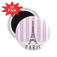 Pink Paris Eiffel Tower Stripes France 2 25  Magnets (10 Pack)  by Mariart