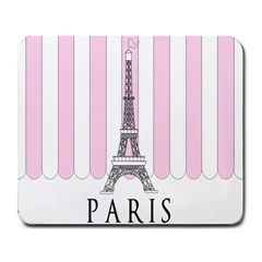 Pink Paris Eiffel Tower Stripes France Large Mousepads by Mariart