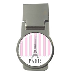Pink Paris Eiffel Tower Stripes France Money Clips (round)  by Mariart