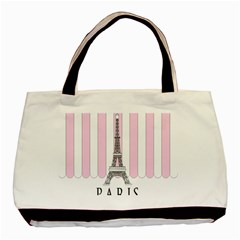 Pink Paris Eiffel Tower Stripes France Basic Tote Bag (two Sides) by Mariart
