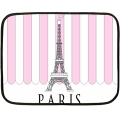 Pink Paris Eiffel Tower Stripes France Fleece Blanket (mini) by Mariart