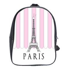 Pink Paris Eiffel Tower Stripes France School Bags(large)