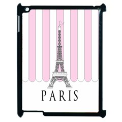 Pink Paris Eiffel Tower Stripes France Apple Ipad 2 Case (black) by Mariart