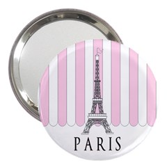 Pink Paris Eiffel Tower Stripes France 3  Handbag Mirrors by Mariart