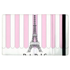 Pink Paris Eiffel Tower Stripes France Apple Ipad 2 Flip Case by Mariart