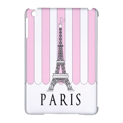 Pink Paris Eiffel Tower Stripes France Apple Ipad Mini Hardshell Case (compatible With Smart Cover) by Mariart