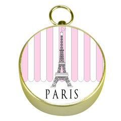 Pink Paris Eiffel Tower Stripes France Gold Compasses by Mariart