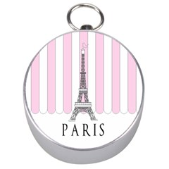 Pink Paris Eiffel Tower Stripes France Silver Compasses by Mariart