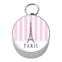 Pink Paris Eiffel Tower Stripes France Mini Silver Compasses by Mariart