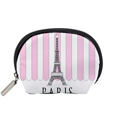 Pink Paris Eiffel Tower Stripes France Accessory Pouches (small)  by Mariart